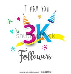 Thank you design template for social network and follower. Web user celebrates a large number of subscribers or followers. Thanks for 3K followers