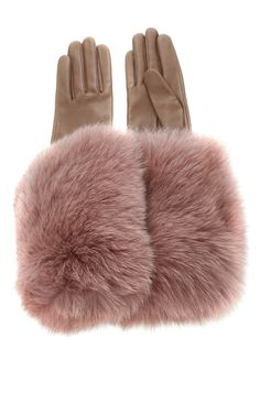 Leather Gloves with Fox Fur Cuff by Paule Ka