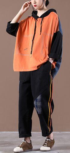 2021 New Korean Women's Loose Large Orange Suit Orange Suit, Suit Fabric, Korean Women, Green Stripes, Two Pieces, New Woman, Long Sleeve Tops, Harem Pants, Rain Jacket