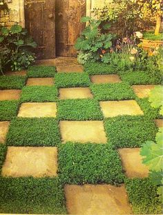 Checkerboard pathway leads to a garden wonderland! Source: wanelo.com #fairytale #storybook #plant