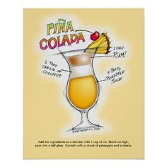 "16"" x 20"" POSTER - PINA COLADA RECIPE COCKTAIL ART with mixing directions!"