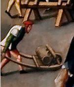c1525-30 Jheronimus Bosch - The Drapers Market DETAIL showing wheelbarrow   Noordbrabants Museum (North Brabant Museum)