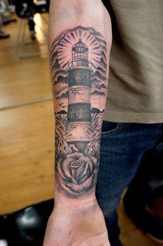 Lighthouse Forearm Tattoo - Tattoo Shortlist #tattoosformenforearm