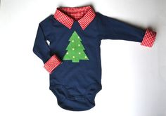 Baby Boy Christmas Outfit, First Christmas Onesie, Christmas Tree Shirt, Christmas Applique on Etsy, $36.00
