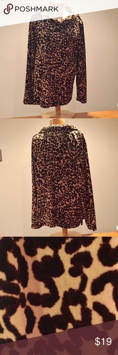 """🆕 White Stag leopard velour cowl neck top. 3x 🆕 White Stag leopard velour cowl neck top. Size 3x. Polyester. 27"""" long. White Stag Tops"""