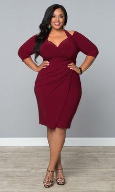 Our plus size Foxfire Faux Wrap Dress is a unique design with a classic silhouette.  www.kiyonna.com  #KiyonnaPlusYou  #MadeintheUSA  #CocktailAttire