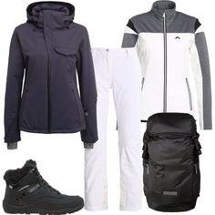 Per una giornata di sport in montagna propongo questo outfit composto da una giacca in pile abbinata a pantaloni da neve con ginocchia preformate, giacca con protezione mento e cucitura rinforzata, stivaletti da neve e zaino.