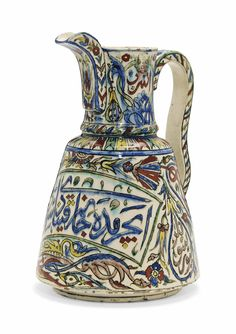 A KUTAHYA POTTERY JUG OTTOMAN TURKEY, LATE 19TH CENTURY