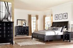 Greensburg 4-Piece Sleigh Storage Bedroom Set in Black