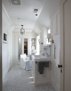 Tracery Interiors - bathrooms - mirrored, doors, marble, hex, tiles, floor, white, single, built-in, bathroom vanity, polished nickel, wall-mount, faucet, marble, subway tiles, backsplash,