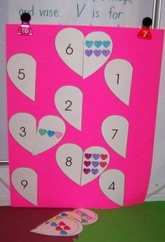 Match up hearts; one side has the number (could also add number word) and the other side has the corresponding number of hearts.