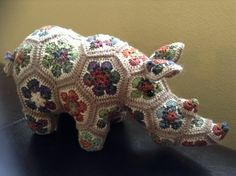 Thandi the Rhino, pattern by Heidi Bears on Ravelry.  Used leftover sock yarn.  Love how the final project turned out!