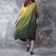 Women Cotton Linen Dress Casual Loose Fitting Long Sleeve