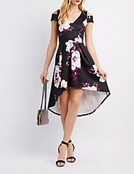 Multi Floral Cold Shoulder High-Low Dress