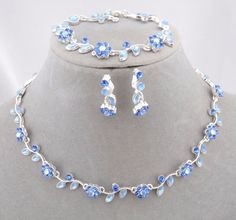 Light Blue Flower Necklace Bracelet Earring Set Silver Fashion Jewelry NEW #ChristinaCollection