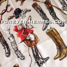 In store http://forever-hermes.com #ForeverHermes for shoeporn lovers and boots addicts: Hermes Paris silk scarf titled A Propos De Bottes by iconic artist Xavier De Poret featuring historic designs of riding boots gentleman hat equestrian artifacts and more boots! men's fashion men's necktie men style women's fashion womenswear hermes carre hermes paris horseriding