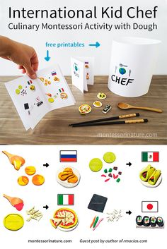 International Kid Chef - Culinary Montessori Activity with Dough Montessori Toddler, Montessori Activities, Kindergarten Activities, Preschool Activities, Diversity Activities, Multicultural Activities, Play Based Learning, Project Based Learning, Kids Learning