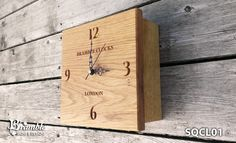 Solid Oak Square Box Clock from Bramble Signs