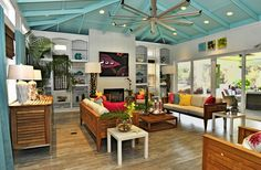 Island Bi-Design | As Seen On Extreme Makeover: Home Edition  Love the colored ceiling!