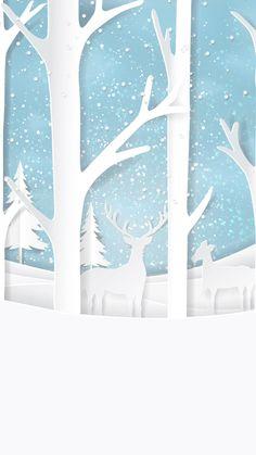Fondo navideño, renos, nieve, árboles blancos