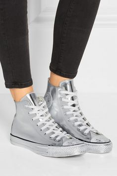 Converse | Chuck Taylor All Star High-Top-Sneakers aus Metallic-Leder | NET-A-PORTER.COM