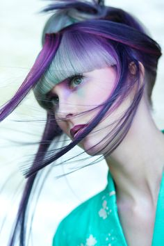 Hair by Alisha Basham Wella Trend Vision 2013 Fusion Illumina pink purple teal platinum Geisha Model- Morgan Moore Photographer- Bob Williams Makeup- Marie Newell