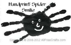 Younger children or toddlers can use their handprints to make these easy handprint spiders with added smiles.