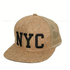 e24434e14b2 New York City Snapback Hat NYC Mesh Trucker Straw like Baseball Cap Tan  Sand  Clover  BaseballCap
