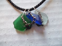 MultiColored Sea Glass and Bird Charm necklace by WanderingSaint, $25.00