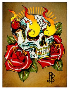 Flaming Skull and Roses Tattoo Flash Print by BROKENPUPPETTATTOO, $15.00