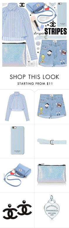 """Striped shirt"" by pastelneon ❤ liked on Polyvore featuring Tome, Whiteley, Isaac Mizrahi, J.Crew, Topshop, Deborah Lippmann, cute, casual, Blue and stripes"