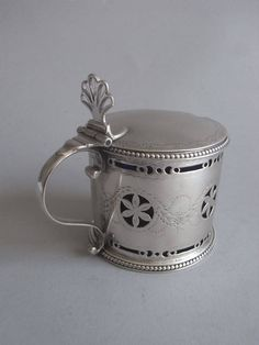 Hester Bateman Rare George III Drum Mustard Pot | From a unique collection of antique and modern sterling silver at https://www.1stdibs.com/furniture/dining-entertaining/sterling-silver/