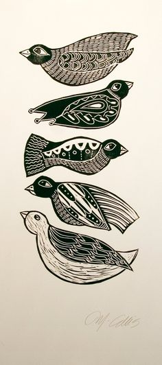 Black Birds, a handpulled black and white linocut by Mariann Johansen-Ellis. $50.00, via Etsy.
