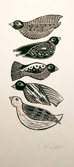 Black Birds, a handpulled black and white linocut by Mariann Johansen-Ellis. $50.00, via Etsy.