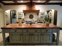 French Gray Island Kitchen In Alabama Stone Cottage