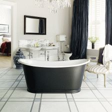 #Bathroom #Design #Geometric #Black #White #BathTub