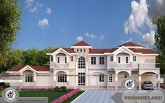 6 Bedroom Double Storey House Plans and Less Expensive Plan Designs More Than 10000 sq ft Home Floor Plans and Designs and Kerala Style Stunning Models Free Pool House Plans, Three Bedroom House Plan, Basement House Plans, Small House Plans, Indian Home Design, Kerala House Design, Duplex House Design, Modern House Design, Double Storey House Plans
