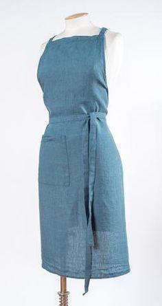 Harmony - Tablier de cuisine en lin lavé Nais - Bleu Petrole - 70*90 cm - Home Beddings and Curtains