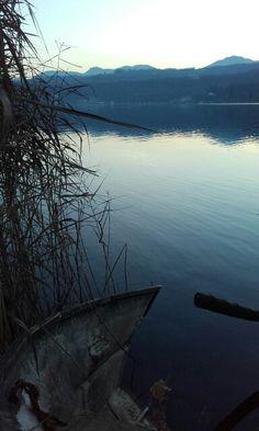 Boat in Avigliana Lake in Italy