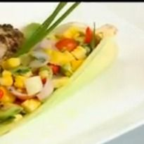 A scrumptious 3salad with fresh seasonal ingredients. #Corn, bell peppers and avocado drizzled with a light dressing.