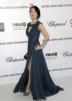 Sheath Column Round  collar Sleeveless Floor length Chiffon Dark Blue Prom Dress Evening Dress Celebrity Dress