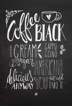 LostBumblebee ©2014 Chalkboard Coffee Handlettered by Melissa Baker-Nguyen -Free Printable Personal Use Only.
