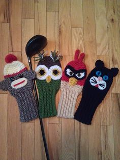 Owl, Cat, Mad Bird, & Sock Monkey Golf Cover pattern by Susan Wilkes-Baker, Basic Crochet Stitches, Crochet Basics, Knit Crochet, Crochet Hats, Loom Knitting, Knitting Patterns, Crochet Patterns, Knitting Projects, Crochet Projects