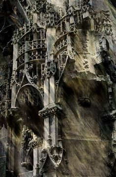 Detail from the facade of Eglise St. Leonard, Honfleur, Normandy