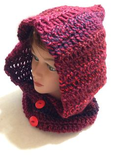 Red Hooded Cowl Pixie Hood Crochet Pixie Hat by AddSomeStitches