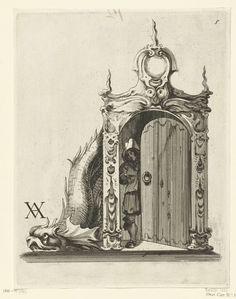 Theodorus van Kessel | Portiek, Theodorus van Kessel, Christiaen van Vianen, Christiaen van Vianen, 1646 - 1652 | De deurpost is gedecoreerd met kwabornamenten en is bekroond met een cartouche. Achter de half geopende deur staat een jongeman met een kleine kom in de hand. Een enorme dolfijn ligt tegen de deurpost.