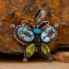 Leo Feeney Peridot Sterling Silver Butterfly Pendant