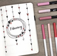 My heart themed February Plan with Me + Bullet Journal Setup!