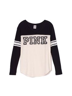 Athletic Long Sleeve Tee - Victoria's Secret from VS PINK. Saved to stuff💗. Victoria Secret Outfits, Victoria Secret Rosa, Pink Outfits, Cute Outfits, Vs Pink Outfit, Design T Shirt, Pink Nation, Pink Brand, Looks Cool