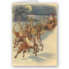 Santa Claus Reindeer Delivering Toys Christmas Eve Cards